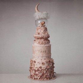 کیک خاص جشن بیبی شاور یا نوزادی دخترونه با تم گلبهی