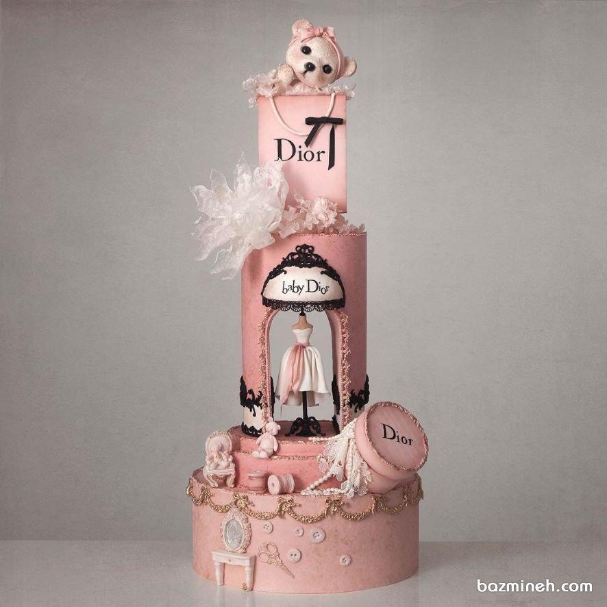 کیک چند طبقه لاکچری فوندانت جشن تولد دخترونه