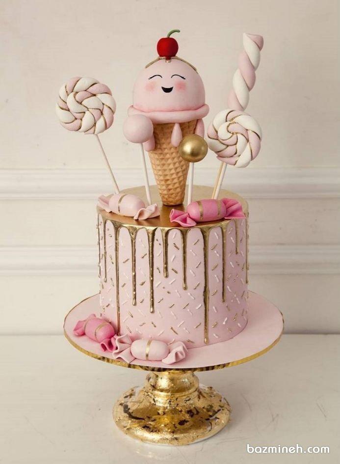 کیک فانتزی جشن تولد دخترونه با تم آبنبات و بستنی