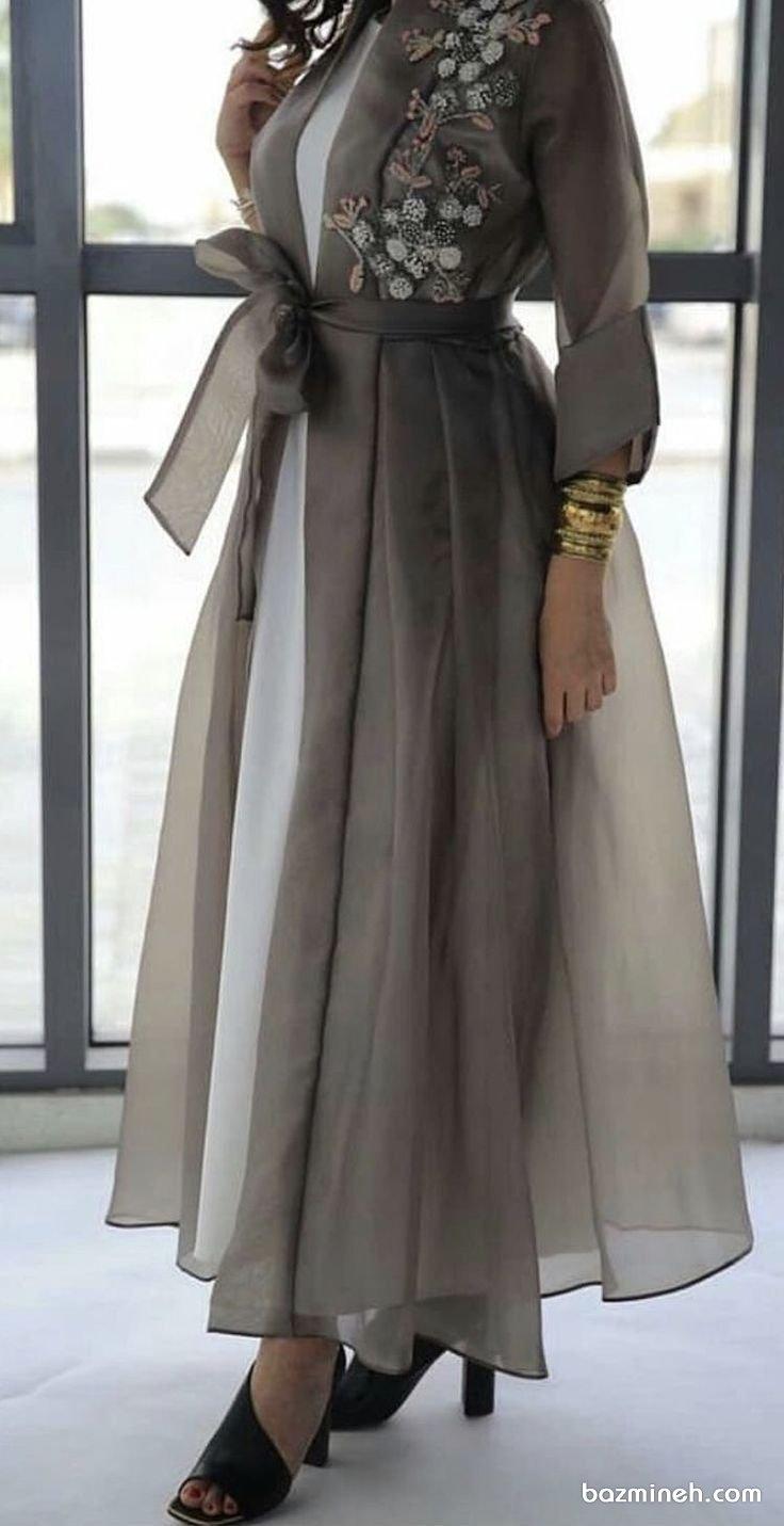 مانتو عقد بلند با پارچه حریر شیشهای نقرهای رنگ سنگدوزی شده