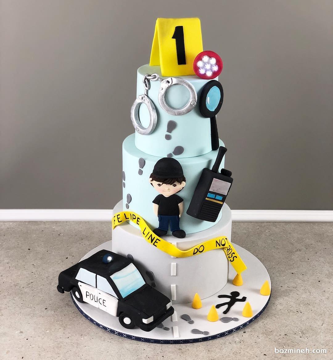 کیک چند طبقه فوندانت جشن تولد پسرونه با تم پلیس