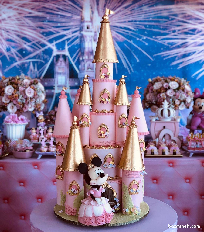 کیک فوندانت جشن تولد دخترونه با تم مینی موس (Minnie Mouse)