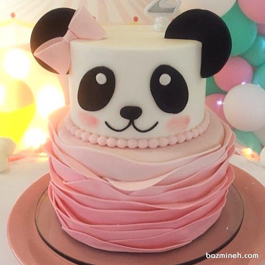 کیک خامهای جشن تولد دخترونه با تم پاندا