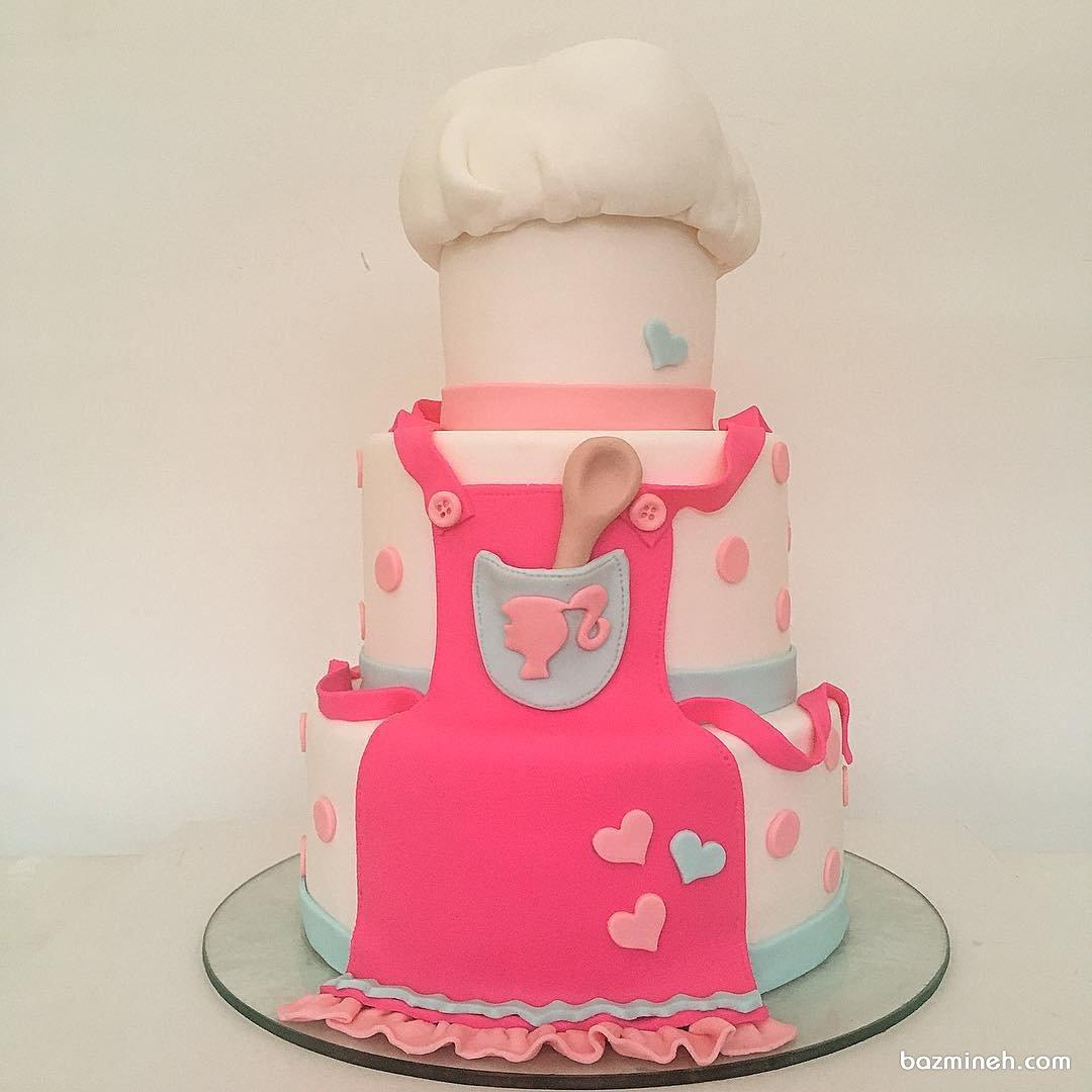 کیک چند طبقه جشن تولد بزرگسال با تم سرآشپز