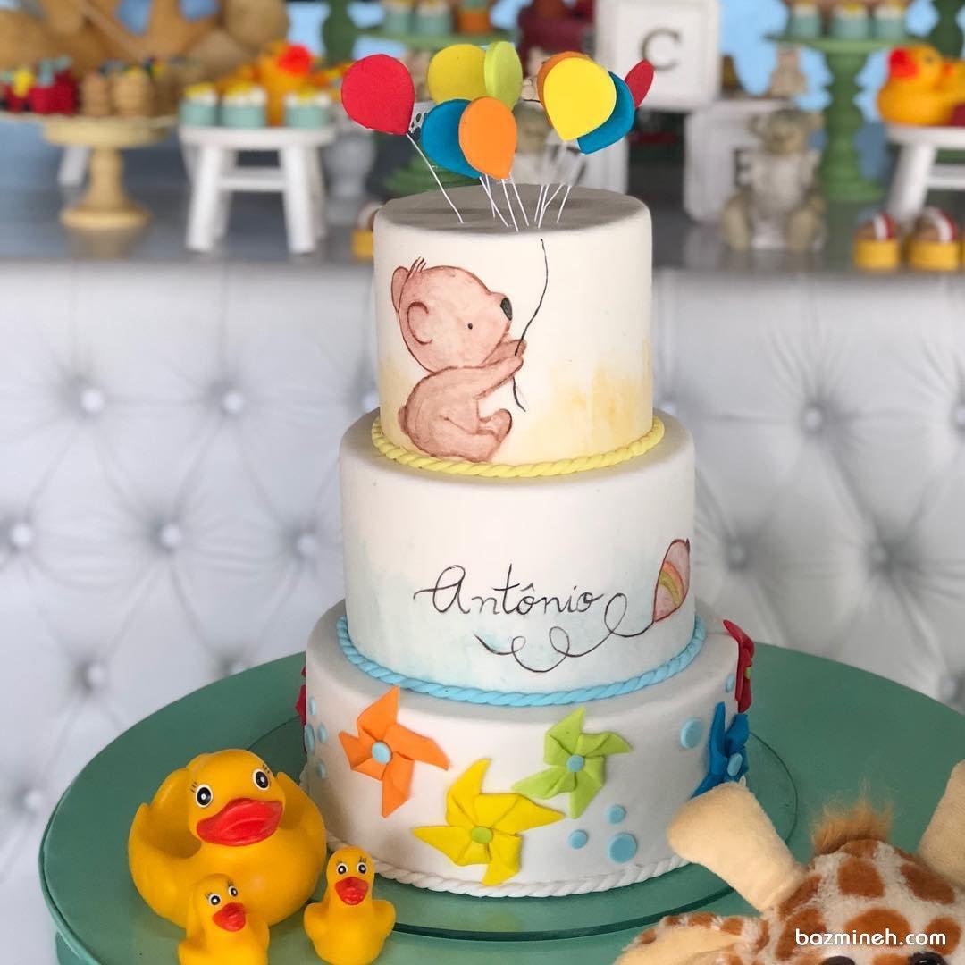 مدل کیک سه طبقه جشن تولد کودک با تم خرس تدی و بادکنک