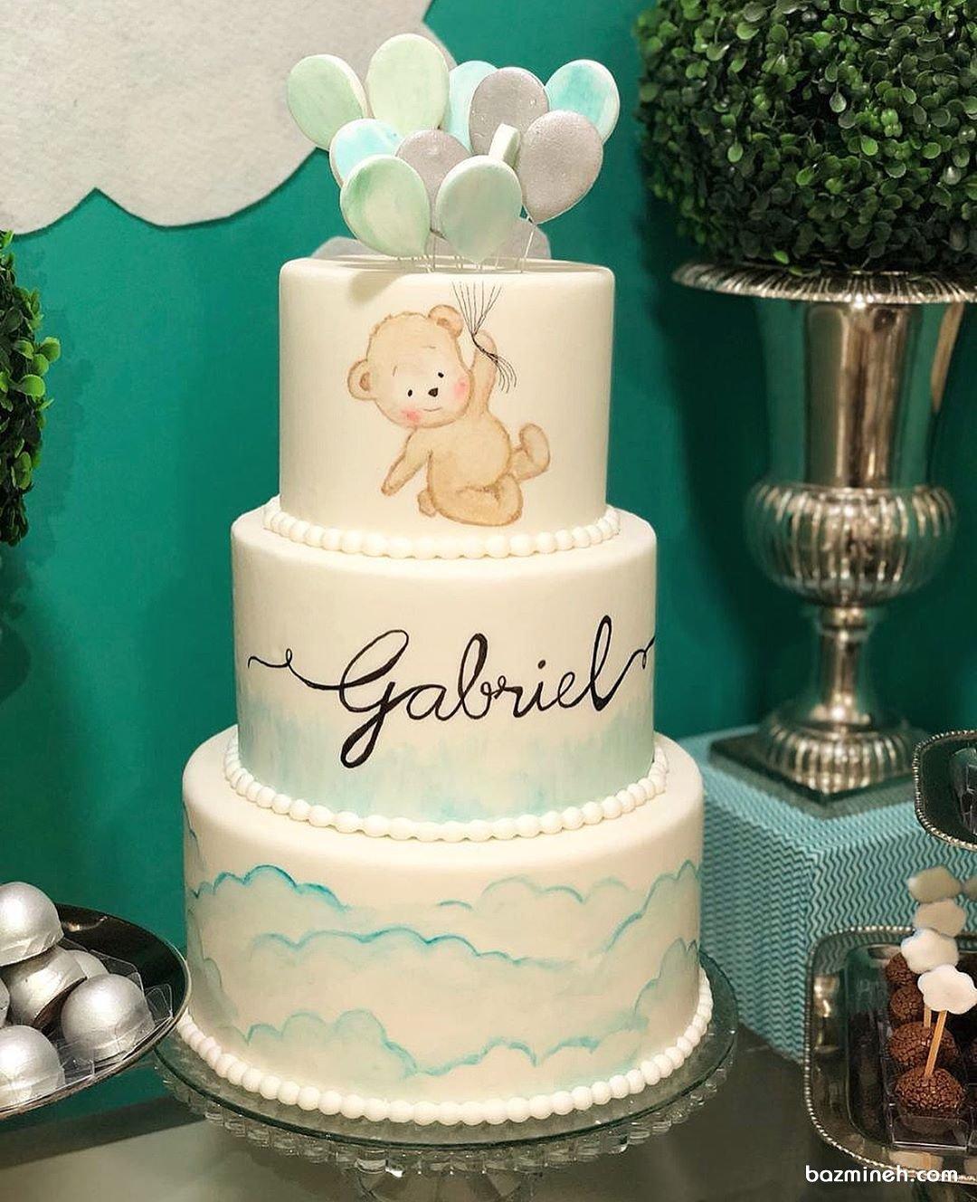 کیک سه طبقه جشن بیبی شاور یا تولد پسرونه با تم خرس تدی و بادکنک
