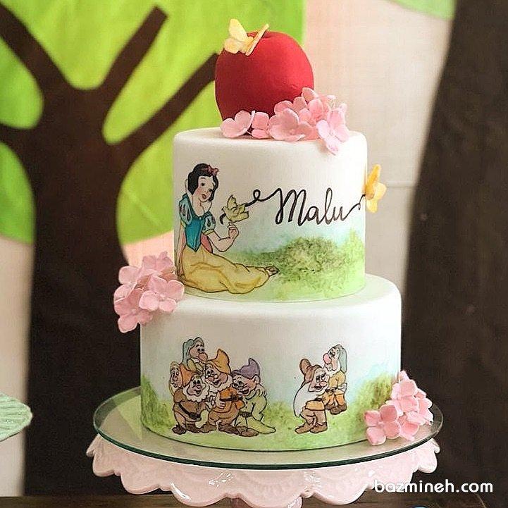 کیک دو طبقه جشن تولد دخترونه با تم سفید برفی