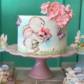 مینی کیک رمانتیک جشن تولد دخترونه با تم خرگوش