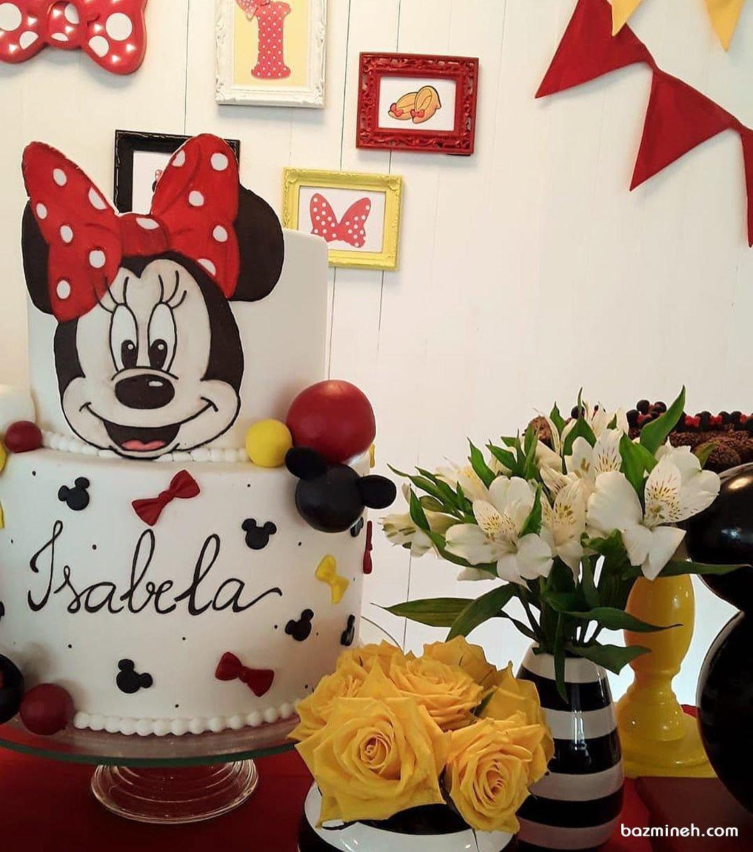 کیک دو طبقه جشن تولد دخترونه با تم مینی موس (Minnie Mouse)