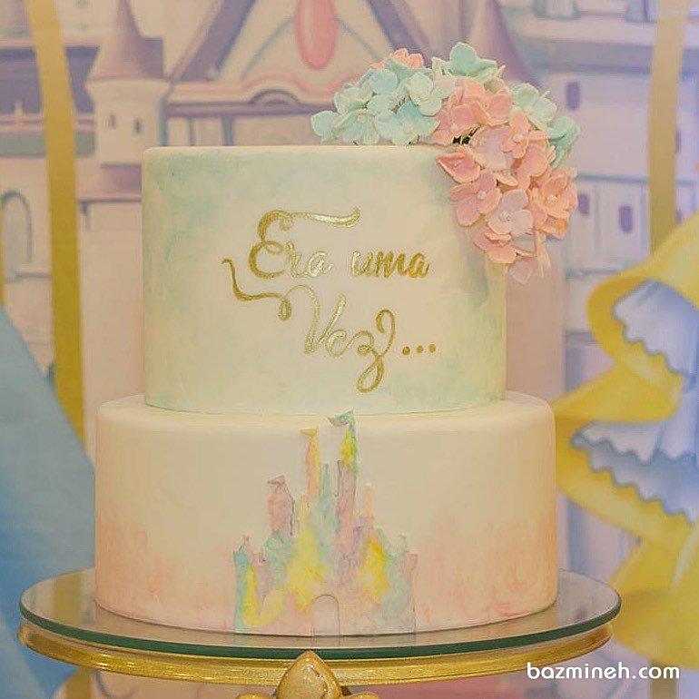 کیک رویایی جشن تولد با تم رنگهای پاستلی