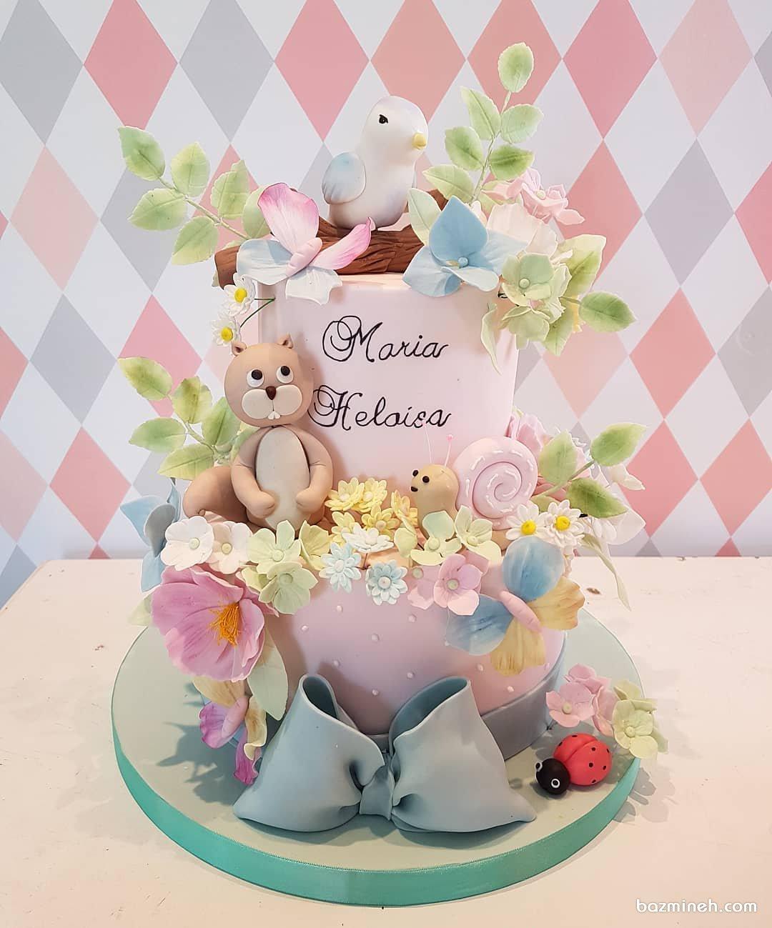 کیک دو طبقه فوندانت جشن تولد کودک با تم جنگل