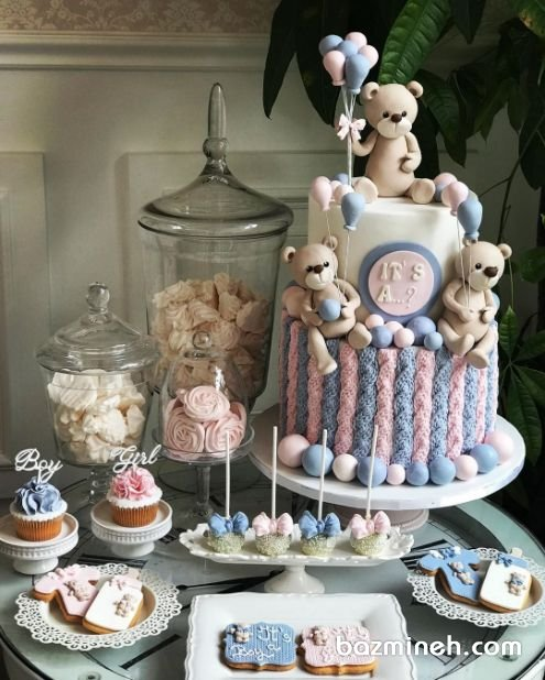 کیک، کاپ کیک، پاپ کیک و کوکی جشن بیبی شاور یا تعیین جنسیت با تم خرس تدی