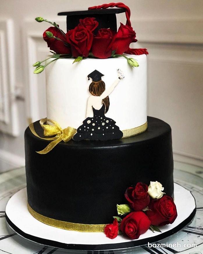 کیک دو طبقه خاص جشن فارغالتحصیلی دخترونه با تم رنگی قرمز مشکی