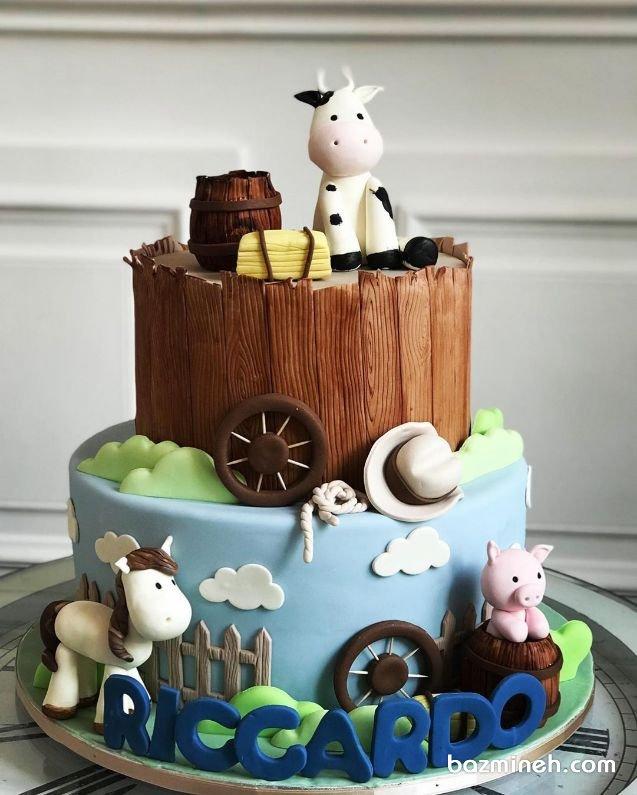 کیک دو طبقه فوندانت جشن تولد کودک با تم مزرعه