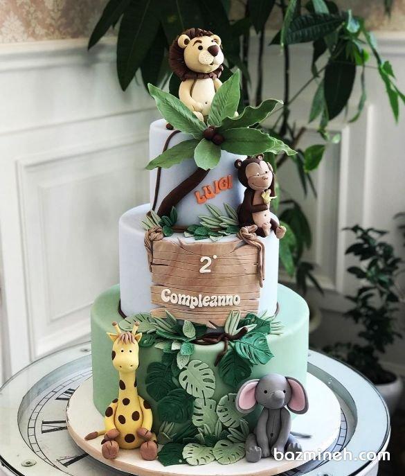 کیک سه طبقه فوندانت جشن تولد کودک با تم جنگل
