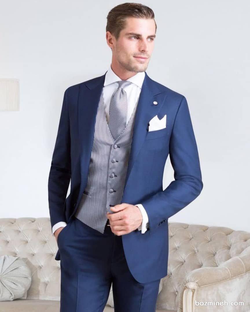 کت و شلوار دامادی آبی درباری مناسب برای مراسم نامزدی و بلهبرون
