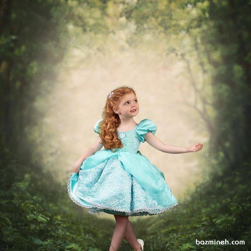 لباس مجلسی کودک با آستین و دامن پفی