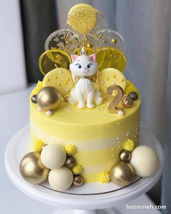 مینی کیک جشن تولد دخترونه با تم گربههای اشرافی