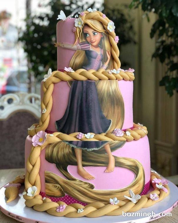 کیک بزرگ فوندانت جشن تولد دخترونه با تم راپونزل (Rapunzel)