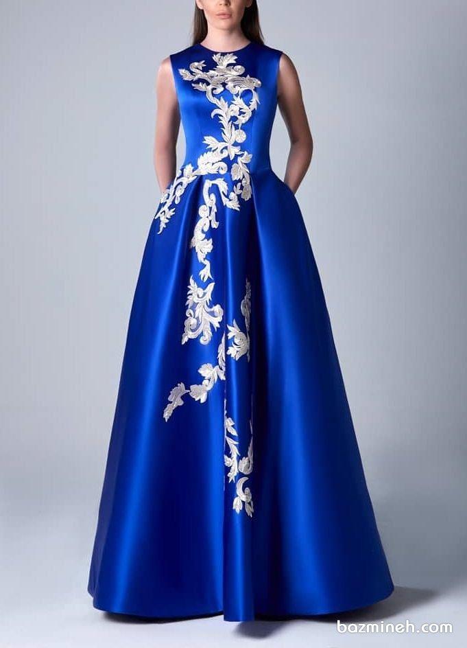 پیراهن بلند دخترونه با پارچه ساتن آمریکایی آبی کاربنی رنگ مدلی زیبا برای ساقدوشهای عروس