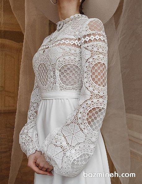 مدل بالا تنه لباس مجلسی ساده و زیبا با پارچه گیپور سفید رنگ و آستینهای پفی مچدار مناسب برای مانتو عقد یا عکاسی فرمالیته
