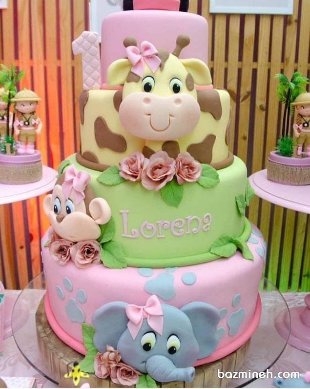 کیک عظیمالجثه فوندانت جشن تولد کودک با تم حیوانات جنگل