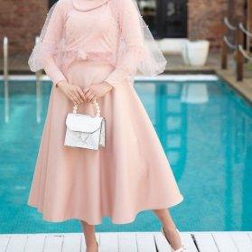 پیراهن میدی کرپ آستیندار مدلی زیبا برای عروس خانمها در مراسم عقد