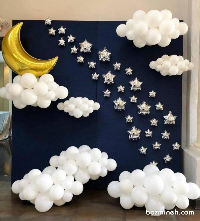 دکوراسیون و بادکنک آرایی جشن تولد کودک با تم ماه و ستاره و ابر