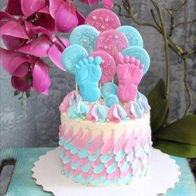 کیک صورتی و آبی برای جشن تعیین جنسیت (baby shower)