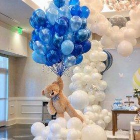 بادکنک آرایی خاص و زیبای جشن تولد یا جشن بی بی شاور پسرانه با تم رنگی آبی و سفید