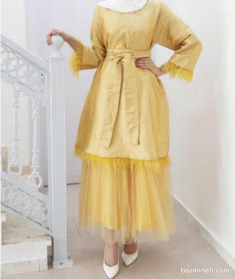مانتو جلو بسته و دامن ست توری بلند زرد رنگ پیشنهادی زیبا برای نوعروسان