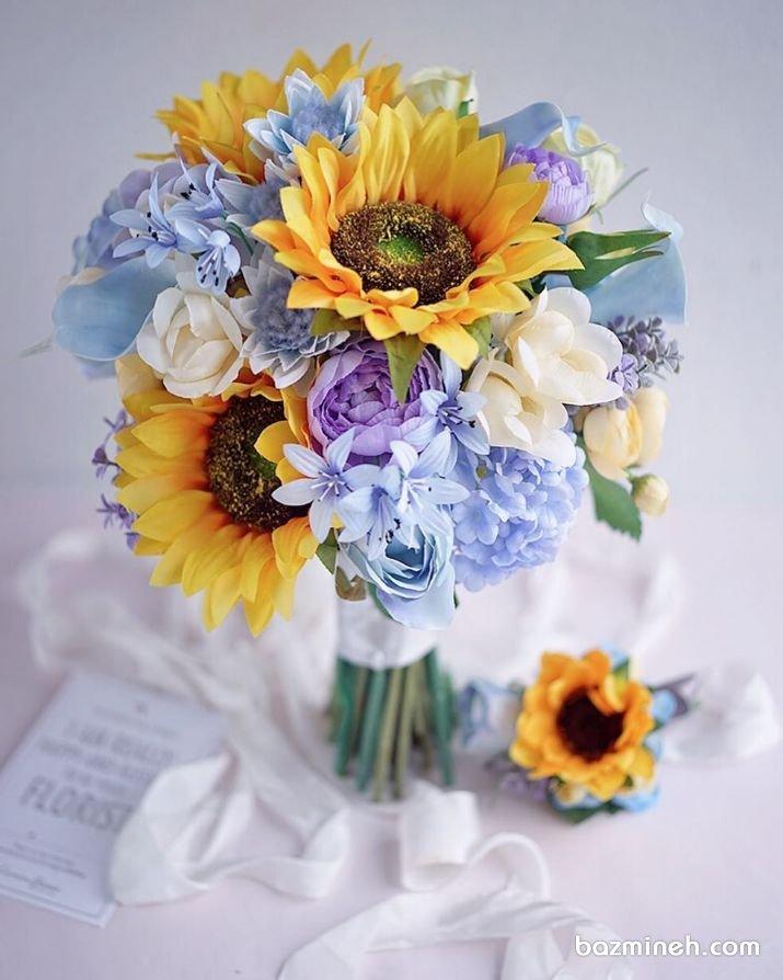 دسته گل ملیح و رویایی عروس با گل آفتابگردون