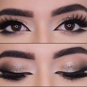 مدل آرایش چشم و ابرو با خط چشم دنبالهدار و سایه براق مناسب برای میکاپ شاینی عروس