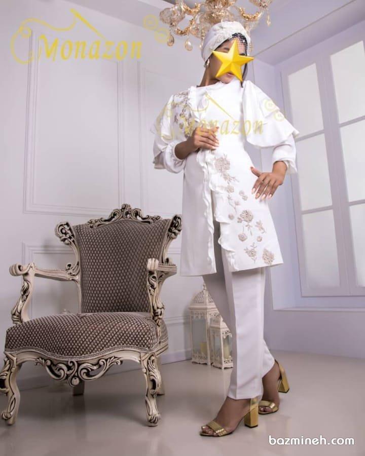 مانتو کتی عقد و شلوار با پارچه کرپ سفید رنگ