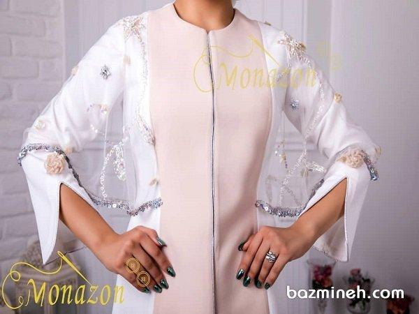 مانتو عقد مدل کتی با پارچه دو رنگ سفید و صورتی همراه با تور سنگدوزی شده
