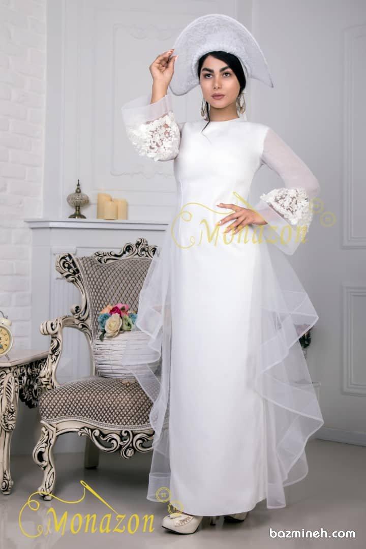 پیراهن عقد پوشیده با آستینهای پفی مدلی زیبا برای مراسم عقد محضری