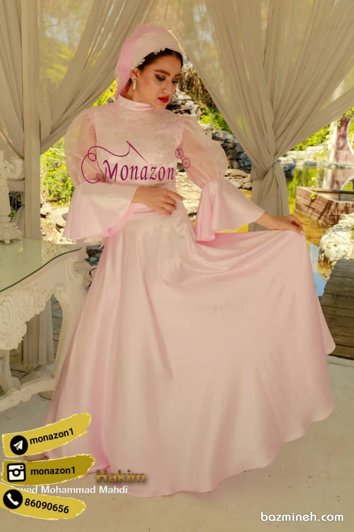 پیراهن بلند و پوشیده مدلی زیبا برای مراسم عقد یا فرمالیته عروسی