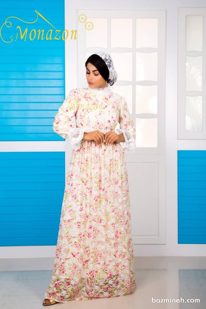 پیراهن بلند با تم بهاری گلدار مدلی زیبا برای پیراهن عقدی خاص و متفاوت