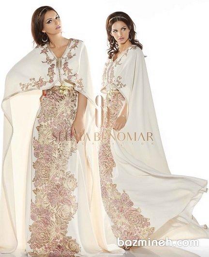 لباس مجلسی ماکسی پوشیده شنل دار با پارچه کرم رنگ