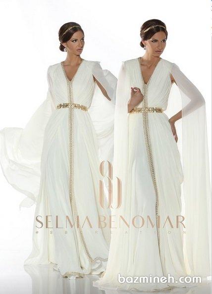 پیراهن عقد بلند با دامن کلوش مدلی زیبا برای عروس خانمها در مراسم عقد