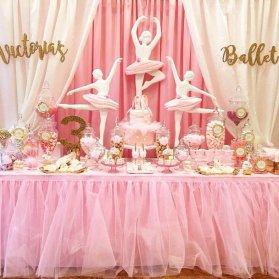 دکوراسیون رویایی جشن تولد دخترونه با تم بالرین صورتی طلایی