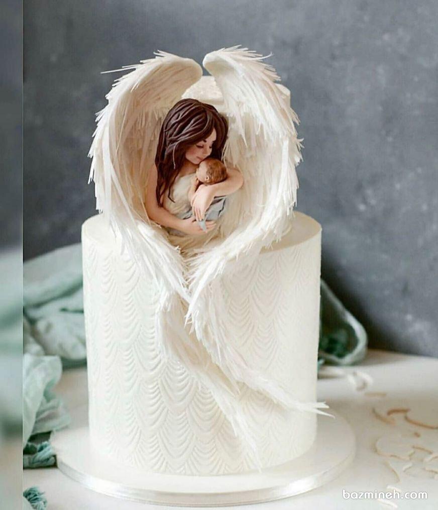 کیک رویایی جشن نوزاد یا بیبی شاور با تم فرشته و نوزاد