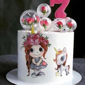 مینی کیک رویایی جشن تولد دخترونه با تم یونیکورن (اسب تک شاخ)