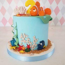 کیک فوندانت جشن تولد کودک با تم انیمیشن نمو (Nemo)