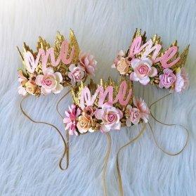 تاج گلدار کودکانه گیفتی زیبا برای جشن تولد دخترونه