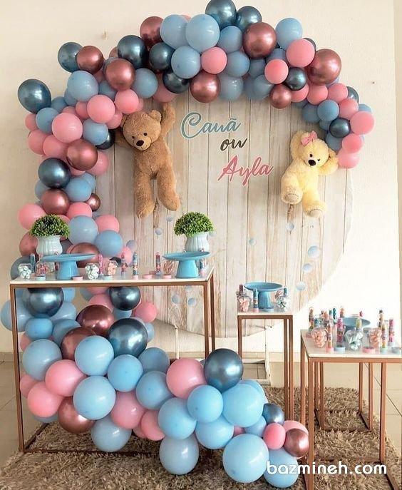 دکوراسیون و بادکنک ارایی جشن بیبی شاور یا تعیین جنسیت با تم آبی صورتی و خرس تدی