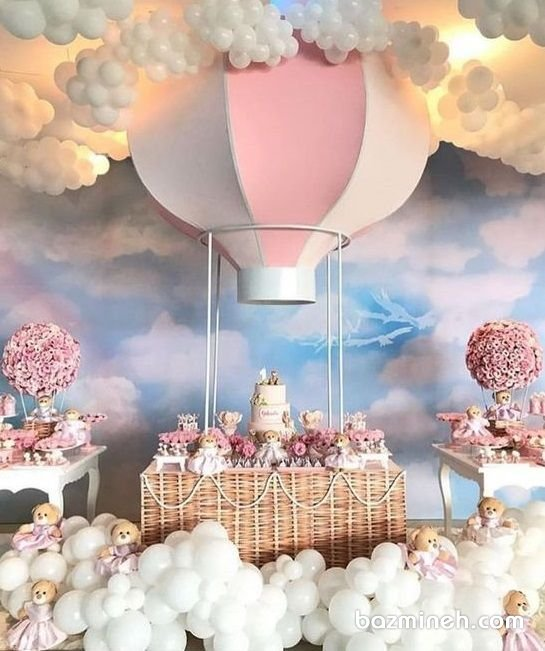 دکوراسیون و بادکنک آرایی مهیج جشن تولد دخترونه با تم بالون و خرس تدی