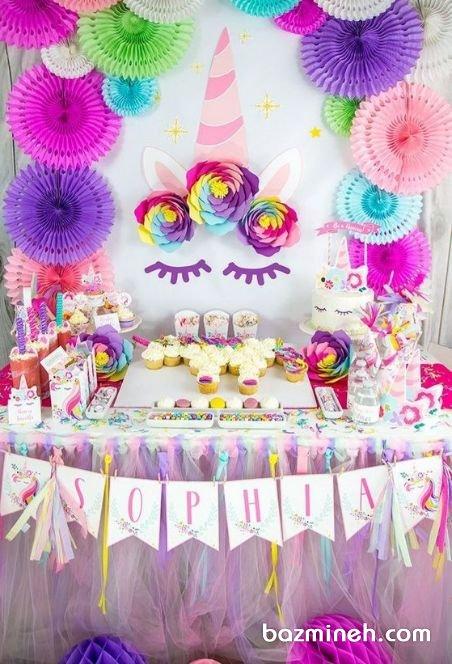 دکوراسیون فانتزی جشن تولد دخترونه با تم یونیکورن (Unicorn)