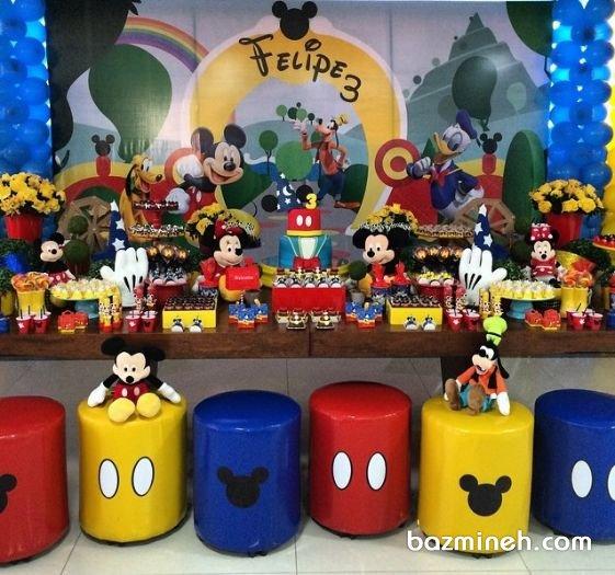 دکوراسیون و بادکنک آرایی شاد جشن تولد کودک با تم میکی موس (Mickey Mouse)