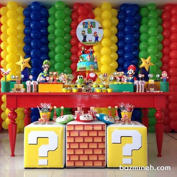 دکوراسیون و بادکنک آرایی شاد و رنگی جشن تولد کودک با تم ماریو (قارچ خور)